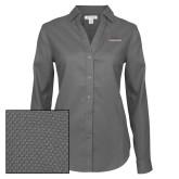 Ladies Red House Diamond Dobby Charcoal Long Sleeve Shirt-Joshua Christian Academy