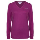 Ladies Deep Berry V Neck Sweater-Kinghts Joshua Christian Academy