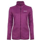 Dark Pink Heather Ladies Fleece Jacket-Kinghts Joshua Christian Academy