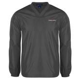 V Neck Charcoal Raglan Windshirt-Joshua Christian Academy