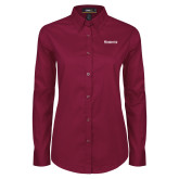 Ladies Maroon Twill Button Down Long Sleeve-Kinghts Joshua Christian Academy