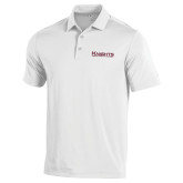 Under Armour White Performance Polo-Kinghts Joshua Christian Academy