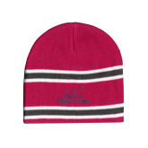 Pink/Charcoal/White Striped Knit Beanie-Joshua Christian Academy