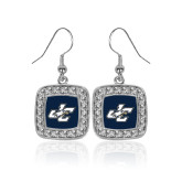 Crystal Studded Square Pendant Silver Dangle Earrings-JC