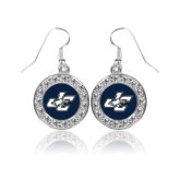 Crystal Studded Round Pendant Silver Dangle Earrings-JC