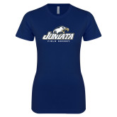 Next Level Ladies SoftStyle Junior Fitted Navy Tee-Field Hockey