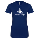 Next Level Ladies SoftStyle Junior Fitted Navy Tee-Juniata College