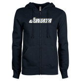 ENZA Ladies Navy Fleece Full Zip Hoodie-Juniata