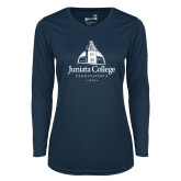 Ladies Syntrel Performance Navy Longsleeve Shirt-Juniata College