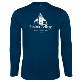 Performance Navy Longsleeve Shirt-Juniata College