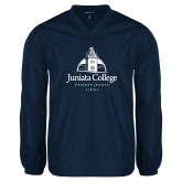 V Neck Navy Raglan Windshirt-Juniata College