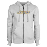 ENZA Ladies White Fleece Full Zip Hoodie-Juniata