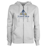 ENZA Ladies White Fleece Full Zip Hoodie-Juniata College