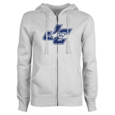 ENZA Ladies White Fleece Full Zip Hoodie-JC Dark Blue Glitter