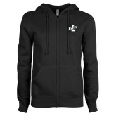 ENZA Ladies Black Fleece Full Zip Hoodie-JC