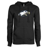 ENZA Ladies Black Fleece Full Zip Hoodie-Eagle Head