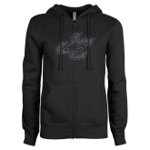 ENZA Ladies Black Fleece Full Zip Hoodie-JC Graphite Soft Glitter