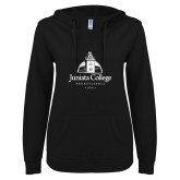 ENZA Ladies Black V Notch Raw Edge Fleece Hoodie-Juniata College
