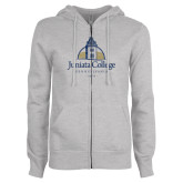 ENZA Ladies Grey Fleece Full Zip Hoodie-Juniata College