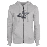 ENZA Ladies Grey Fleece Full Zip Hoodie-JC Graphite Soft Glitter