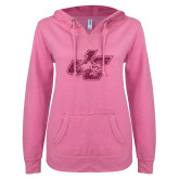 ENZA Ladies Hot Pink V Notch Raw Edge Fleece Hoodie-JC Hot Pink Glitter