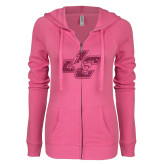 ENZA Ladies Hot Pink Light Weight Fleece Full Zip Hoodie-JC Hot Pink Glitter