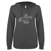 ENZA Ladies Dark Heather V Notch Raw Edge Fleece Hoodie-JC Silver Soft Glitter
