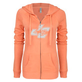ENZA Ladies Coral Light Weight Fleece Full Zip Hoodie-JC White Soft Glitter