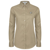 Ladies Khaki Twill Button Down Long Sleeve-JC
