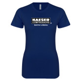 Next Level Ladies SoftStyle Junior Fitted Navy Tee-Kaeser w tagline