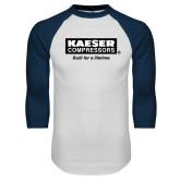 White/Navy Raglan Baseball T Shirt-Kaeser