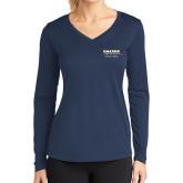 Ladies Syntrel Performance Navy Longsleeve Shirt-Kaeser Compressors