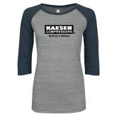 ENZA Ladies Athletic Heather/Navy Vintage Baseball Tee-Kaeser w tagline