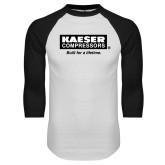 White/Black Raglan Baseball T Shirt-Kaeser
