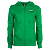 ENZA Ladies Kelly Green Fleece Full Zip Hoodie-Kaeser w tagline