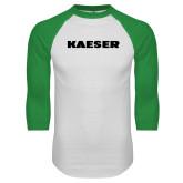 White/Kelly Green Raglan Baseball T Shirt-Kaeser