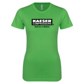 Next Level Ladies SoftStyle Junior Fitted Kelly Green Tee-Kaeser w tagline