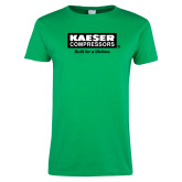Ladies Kelly Green T Shirt-Kaeser w tagline