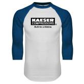 White/Royal Raglan Baseball T Shirt-Kaeser