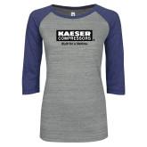ENZA Ladies Athletic Heather/Blue Vintage Baseball Tee-Kaeser w tagline