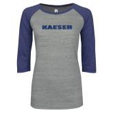 ENZA Ladies Athletic Heather/Blue Vintage Baseball Tee-Kaeser Dark Blue Glitter