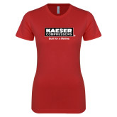 Next Level Ladies SoftStyle Junior Fitted Red Tee-Kaeser w tagline