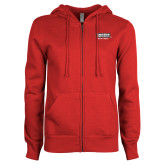 ENZA Ladies Red Fleece Full Zip Hoodie-Kaeser w tagline