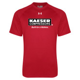 Under Armour Red Tech Tee-Kaeser w tagline