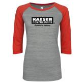 ENZA Ladies Athletic Heather/Red Vintage Baseball Tee-Kaeser w tagline