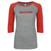 ENZA Ladies Athletic Heather/Red Vintage Baseball Tee-Kaeser Red Glitter