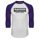White/Purple Raglan Baseball T Shirt-Kaeser