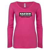 ENZA Ladies Hot Pink Long Sleeve V Neck Tee-Kaeser w tagline