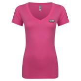 Next Level Ladies Junior Fit Ideal V Pink Tee-Kaeser w tagline