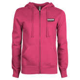 ENZA Ladies Fuchsia Fleece Full Zip Hoodie-Kaeser w tagline